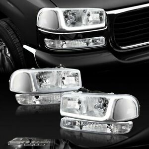 For 1999 2006 Gmc Sierra 1500 2500 Drl Led Chrome Clear Headlights bumper Lamps