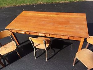 Antique 60 Solid Oak Child S School Desk Table 5 Chairs Seats 6 W Drawers
