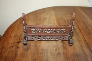 Antique Chinese Hand Carved Mirror Picture Stand Holder With Fretwork