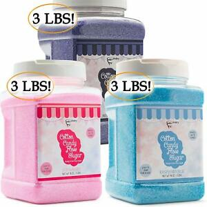 The Candery Cotton Candy Floss Sugar 3 pack strawberry Raspberry Blue Grape