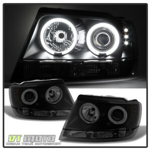 Black Smoked 99 04 Jeep Grand Cherokee Ccfl Halo Projector Headlights 1999 2004