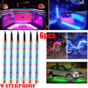 6x Rgb 32led 12 Flexible Light Strip For Car Boat Truck Drl Waterproof Dc 12v