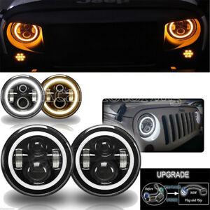 7 Inch Round Led Headlights Halo Angle Eyes For Jeep 97 2017 Wrangler Jk Lj Tj