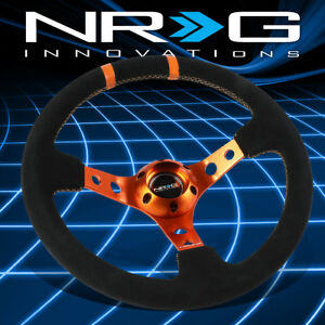 Nrg Performance 350mm 3 deep Dish Suede Orange Spoke Steering Wheel horn Button