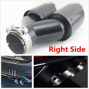 Plating Black Real Carbon Fiber 63 89mm Glossy Car Dual Exhaust Pipe Right Side