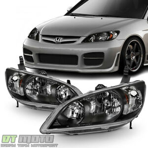 For 2004 2005 Honda Civic 2 4 Door Headlights Jdm Black Headlamps Set Left Right