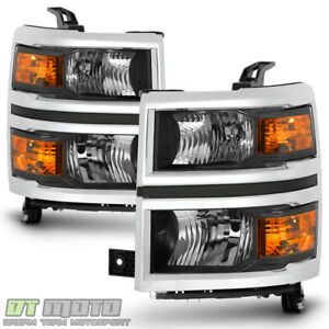 2014 2015 Chevy Silverado 1500 Pickup W chrome Trim Headlights Headlamps Pair