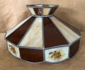 Vintage Stained Glass Lamp Shade For Table Or Handing Brown Slag Glass Floral