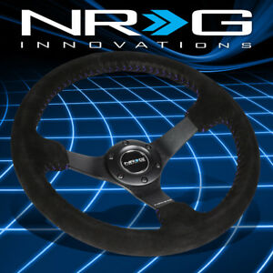 Nrg Performance 350mm 3 deep Dish Black Suede Blue Stitch Racing Steering Wheel