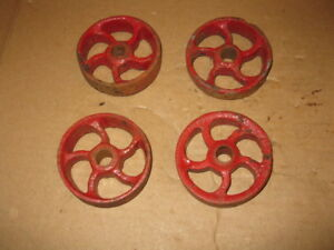 4 Antique Small Cast Iron Wheels Hit N Miss Maytag Cart Shop Use