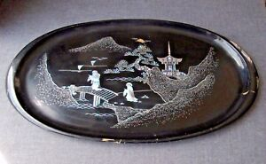 Vintage Figural Scene Inlaid Mop Black Lacquer Wooden Huge Tray Japan
