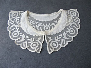 Antique Creamy Embroidery Tulle Fabric Lace Collar 2