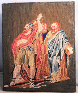 Antique Victorian Needlework Wool Tapestry Picture 3 Wise Men Magi Shakespeare