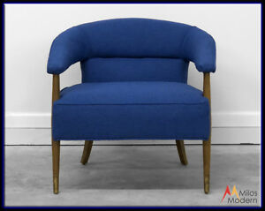 Vintage 70s Mid Century Danish Modern Ring Side Arm Chair New Blue Upholstery