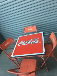 Coca Cola, Vintage Metal Folding Table & 4 chairs Embossed Lettering Coke