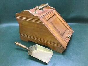 English Victorian Walnut Coal Ash Scuttle Bucket Bin W Shovel Reg No 80698