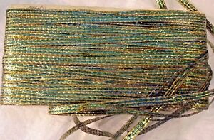 Vintage French Metallic Tinsel Ribbon Gold Turquoise 5 16 Wide Bty