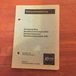 Kern Gk0 Gk1 Level Instruction Manual Surveying German