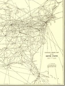 1956 Antique United States Airlines Map Usa Aviation Map Rare Size 5725