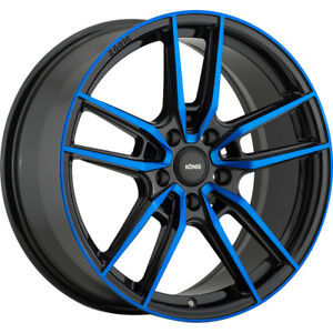 18x8 Black Blue Konig Myth Wheels 5x100 43 Fits Pontiac Vibe 5 Lug Only