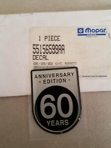 2001 Jeep Wrangler Grand Cherokee 60 Year Anniversary Badge Emblem New Mopar
