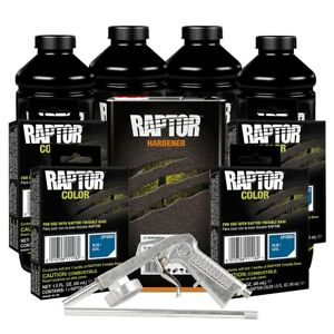 U Pol 821 4860 Blue 4 Liter Raptor Spray On Truck Bed Liner Kit W Gun