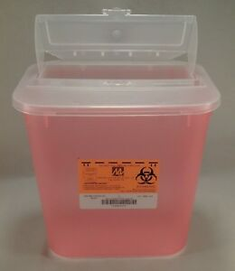 Case 24 Red Sharps Stackable Biohazard Disposal Needle Container 2 Gallon Tattoo