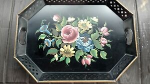 Antique Toleware Tole Hand Painted Metal Serving Tray Floral Rose Flowers
