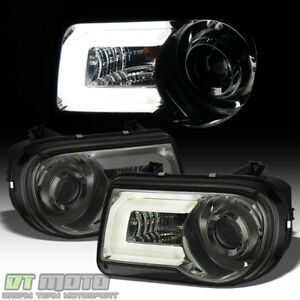 Smoke 2005 2010 Chrysler 300c Drl Led Light Tube Projector Headlights Headlamps