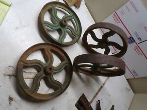 Set Of 4 Fancy Case Eagle Cast Iron Wheels For Engine Cart Etc