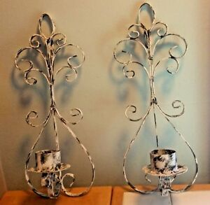 Vintage Pair Lot Of Wrought Iron Sconces Wall Mount Candle Holders Shabby Chic