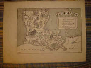 Antique 1951 Louisiana Cartoon Pictorial Map New Orleans Baton Rouge Monroe Nr