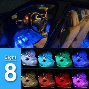 4pcs Car Interior Atmosphere Neon Lights Strip 36led Wireless Ir Remote Control