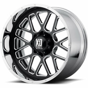 20x10 Black Milled Chrome Xd Xd201 grenade Wheels 5x5 5 18 Lifted