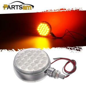 Double Face Amber Red 4 Round 48 Led Stop Turn Parking Light Chrome Clear Lens