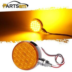Amber 4 Round Double Face Miro Reflex 48 Led Pedestal Stop Turn Parking Light