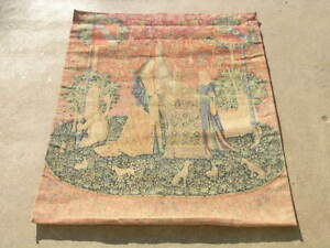 Colorful Vintage French Tapestry Lady And Unicorn Lion Animals Garden 33x46