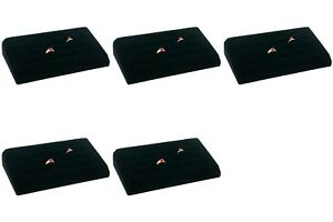 5 Sets 18 Ring Tray Black Velvet Jewelry Showcase Display Box
