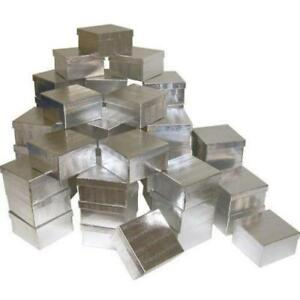 50 Silver Foil Cotton Filled Jewelry Gift Boxes 3 3 4