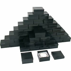 Black Stripe Cotton Filled Jewelry Gift Box 3 3 4 x 3 3 4 x 2 Kit 100 Pcs