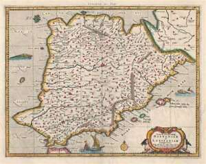 1730 Mercator Hondius Ptolemaic Map Of Spain And Portugal