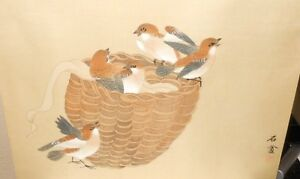Japanese Birds In A Brown Basket Original Watercolor Painting Signed 2