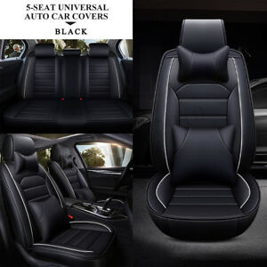 Luxury Full Wear Resistant Leather Car 5 Seat Covers Front Rear Cushion Set Us