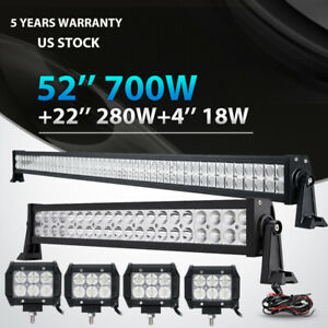 52inch 700w Led Light Bar Combo 22 280w 4 18w Fit Jeep Wrangler Jk Yj Tj Cj