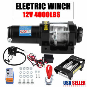 4000lbs 12v Electric Winch Towing Truck Trailer Tensile Steel Rope 2 Ton New