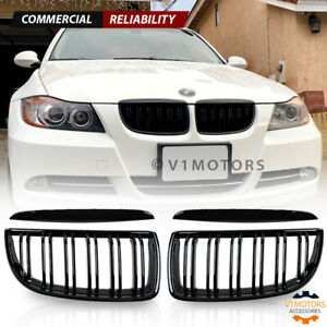 Gloss Black Front Bumper Kidney Grill Dual Line For Bmw E90 320i 325i 2005 2008