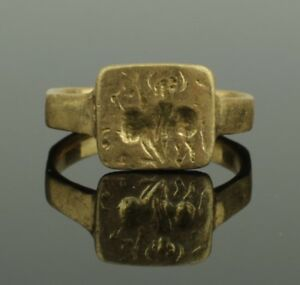 Ancient Greece Gold Seal Ring Circa 800 600 Bc