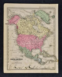 1882 Wells Map North America United States Canada Mexico Alaska West Indies