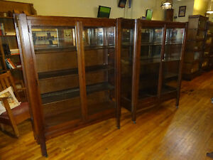 Pair 2 Matching Antique Mission Oak China Cabinets Arts Crafts Era 1910 S