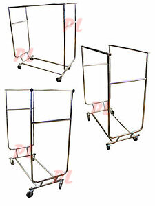 Double Parrallel Bar Adjustable Clothes Rack Hanger Retail W Swivel Wheels